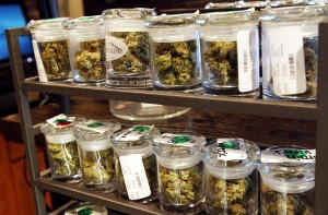File photo of several varieties of marijuana buds are displayed for sale at a medical marijuana center in Denver